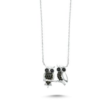 Online Takı Gümüş Baykuş Kolye Renkli